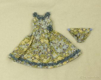 Dress for tiny BJD Pip and other small dolls, cotton, greyblue and yellow