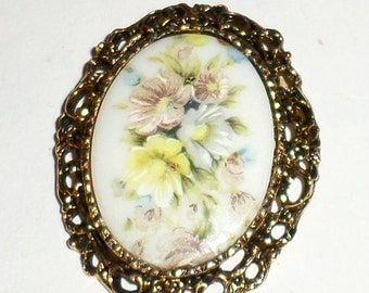 Vintage Brooch - Yellow Floral Brooch - Painted Flower Brooch - Gold Tone Filigree Pin - Large Pin - Ladies Pin - Large Brooch - Floral Pin