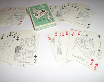Vintage Novelty Playing Cards - Cheer Up Cards - Complete Deck - Humorous Cards - Cartoon Cards - Vintage Playing Cards