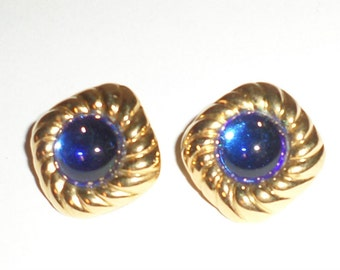 Vintage Clip On Earrings - Royal Blue and Gold Tone Clip On Earrings - Small Square Earrings - Vintage Jewelry - 1980's Earrings