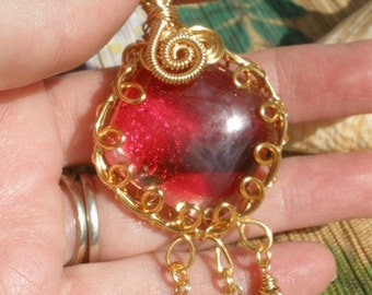 Red dichronic glass wire wrapped diamond shape pendant black crystal dangles