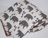 baby blanket, quilted baby blanket- bears and woodgrain-ready to ship!