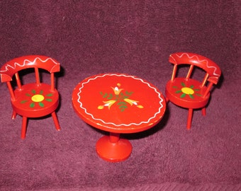 Vintage--Doll Furniture--Table And Two Chairs--Red With Yellow & Green