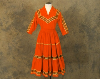 Clearance Sale vintage 50s Western Dress - 1950s Orange Corduroy Western Circle Skirt and Shirt - Mexican Squaw Patio Skirt Set Sz S