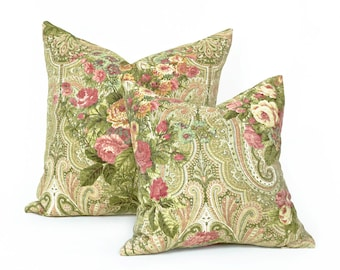 Green Pink Floral Pillow Cover, Cottage Throw Pillows, French Country Pillows,  Floral Cushion Cover, Shabby Chic Home Decor, 16x16