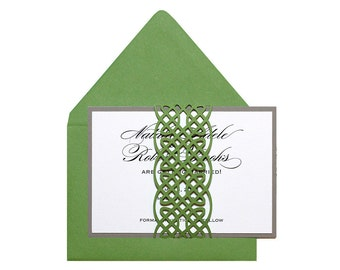 Celtic Knot Save The Date Cards - clover, green, irish, celtic, unending knot wrap