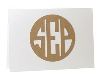 Circle Monogram Thank You Cards - set of 25
