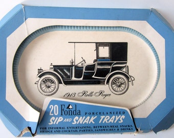 Deluxe Buffet Cold Sip & Snack Tray Food Lap Serving Auto Fonda Porcelanized Vintage Car Rare Collectible