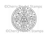 Wheel of the year, pagan year calendar - CLING rubber STAMP by Cherry Pie Art Stamps