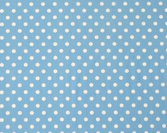 Blue Fabric, White on Light Blue Polka Dot Fabric, Cotton Fabric for sewing, quilting and crafts