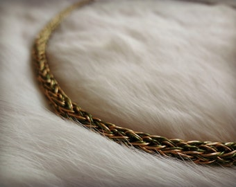 VIKING KNIT Intertwined Olive Green Finished Copper and Bronze Wire Necklace - 21 1/2 Inches Long - Spiritual - Metaphysical - Healing