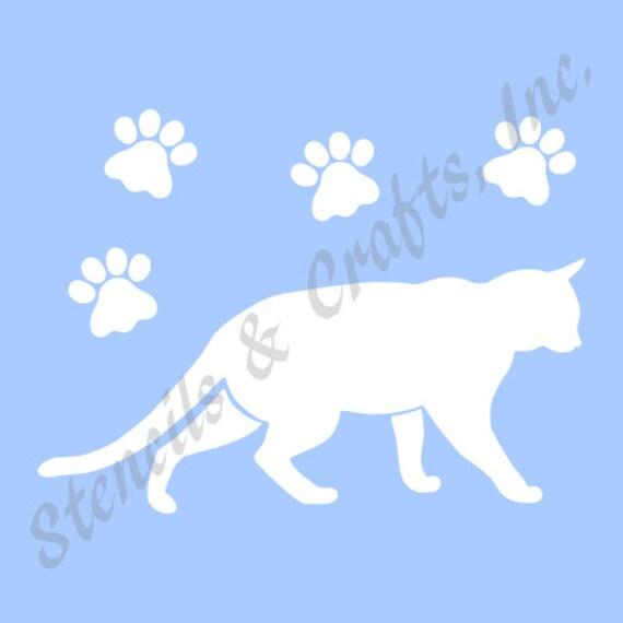 cat pochoir pattes animal patte imprime chats f lin nouveau. Black Bedroom Furniture Sets. Home Design Ideas