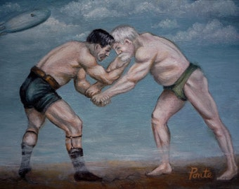 The Match - Oil Painting  Wrestling Fighters Anti War