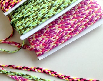 Trim, braid, braid trim, pink, green, yellow,purple, trims, fabric trim, ribbon, card decoration, 3 patterns, 3 yards, 3/8 inch wide, 1 cm