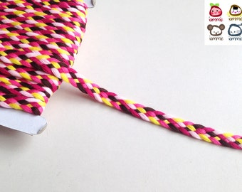 Trim, braid, braid trim, pink, brown, yellow, trims, fabric trim, ribbon, card decoration, iammie, 1 yard, 90 cm, 3/8 inch wide, 1 cm