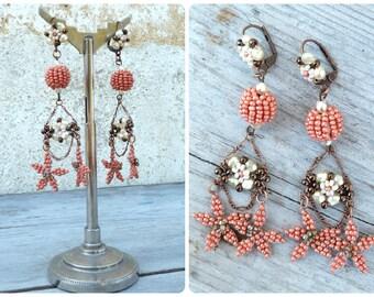 Fleurs d'Oranger Handmade in France long t Floral dangles earrings on leverbacks