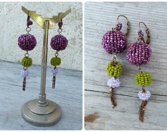Pompoms bicolore Handmade in France 3 pompoms /tassels /dangles earrings /leverbacks