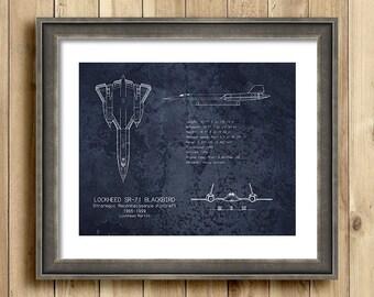 SR-71 Blackbird airplane blueprint art, aviation decor, airplane decor, husband gift, blackbird blueprint, military art