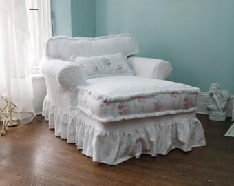 custom order chaise lounge shabby chic slipcovered white roses chenille fabric brush fringe trim