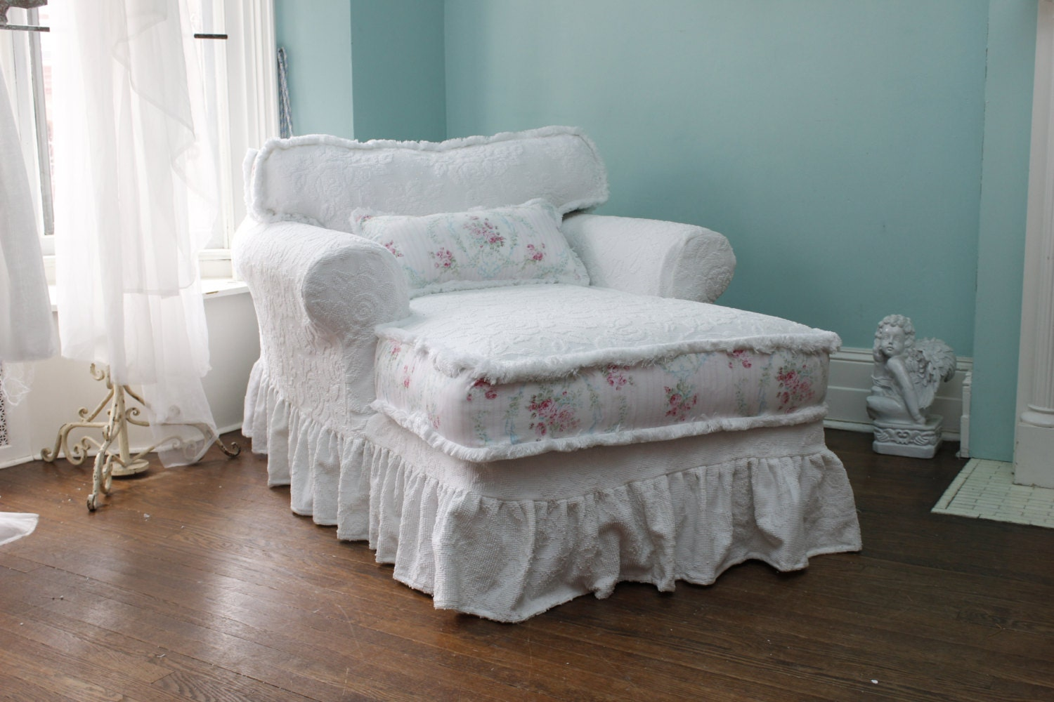 custom order chaise lounge shabby chic slipcovered white roses. Black Bedroom Furniture Sets. Home Design Ideas