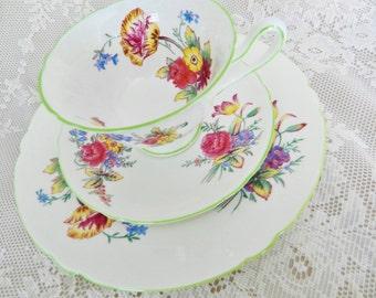 1940-55 Shelley Teacup Set,  Shelley Old Bow Set, Shelley 3pc Set , Collectible Teacup,  no S56