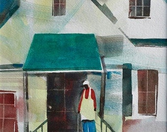 Porch Moment Watercolor Painting African American Art Contemporary For Bedroom
