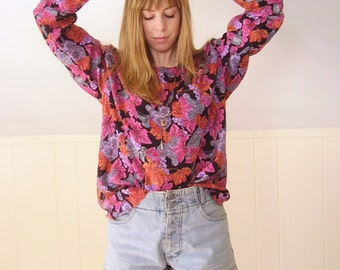 Perfume Floral Grape Novelty Printed LS Slouchy Graphic Blouse - Vintage 90s - MEDIUM M