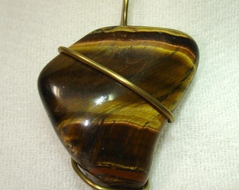 Tiger Eye Tornado Wire Wrapped Pendant - OOAK - Free Shipping within the U.S.