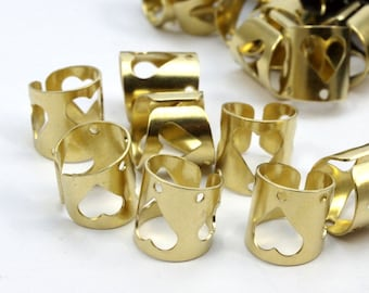 50 Raw Brass Ear Cuffs with 1 Hole round  findings  (10 mm)  D141