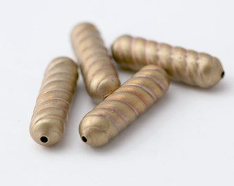 Vintage Brass Oval Twisty Fluted Tube Beads 28mm (4)