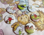 Rupert the Bear vintage pin badge set x 7 cut from original 1970's Annual,Unicorn,Steam Train,Horse,unique one off gift,hand made,fantasy.