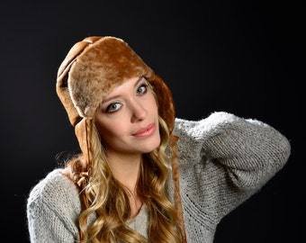 Women's Winter Hat- Shearling Aviator Hat- Fur Earflap Hat- Leather Hat- Fall Fashion- Winter Accessories- Fall Accessories- Bomber Hat
