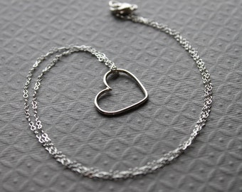 Sterling silver Necklace, Heart, Layering necklace - Love Pendant, Simple, Wedding, Bridal gift