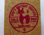Studio Ghibli Kiki's Delivery Service Jiji Cat & Pawprints Postal Mark / Postal Stamp Japanese Rubber Stamp