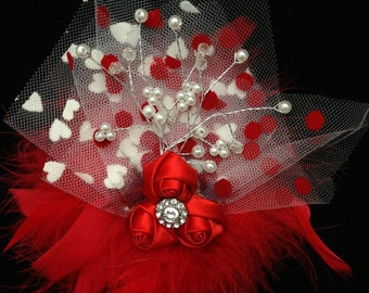 Valentine heart bow with marabou, roses, hearts, pearls, tulle and bling