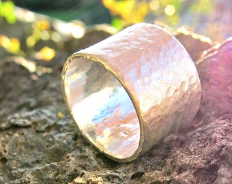 Handforged, Hammered Wide Sterling Silver Ring