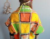Springtime Colorful Granny Square Crochet Bohemian Dreamer Sweater Jacket Shrug Cardigan Festival Batwing Kimono Dolman Sleeves Womens