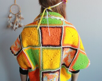 Springtime Colorful Granny Square Crochet Bohemian Dreamer Sweater Jacket Shrug Cardigan Festival Batwing Kimono Dolman Sleeves Womens