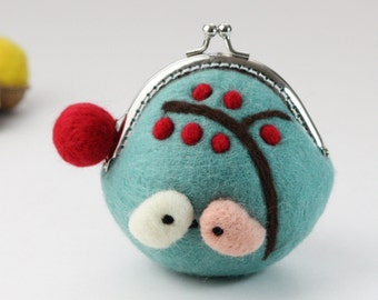 Wool wallet, felted bag,coin Purse wallet, Coin Pouch, Change purse, frame coin purse Blue Bird Handmade