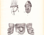 1882 Native American Indian Print - Aleut Dancing Mortuary Mask - Antique Art Illustration Book Plate Archaeology Ethnology 100 Years Old