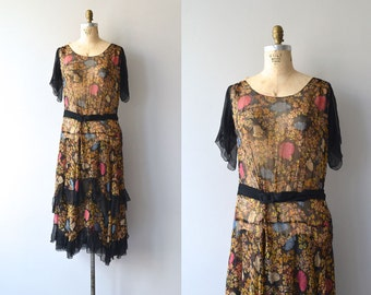 Floral Canopy dress | 1920s silk chiffon • floral 20s dress