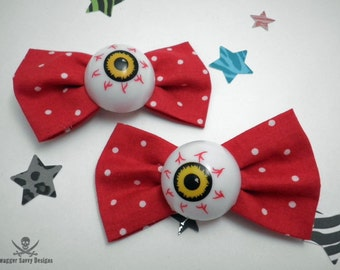 Red Polka Dot Eyeball Hair Bow Set