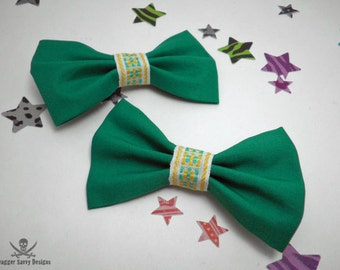 Kitschy Green and Yellow Vintage Bias Tape Hair Bow Set