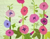 """Baby quilt- wall art quilt - """"Hollyhock Garden"""" appliqued crib quilt, nursery, hand-embroidered, Ready to Ship- Ships free to USA"""