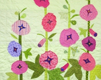 "Baby quilt- wall art quilt - ""Hollyhock Garden"" appliqued crib quilt, nursery, hand-embroidered, Ready to Ship- Ships free to USA"