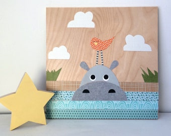 Hippo Collage, Kids Wall Art, Jungle Theme, eco friendly