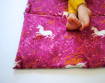 Unicorn Nap Mat- Organic Denim with Purple Pink- Preschool Napmat- Non Toxic, Modern, Kids, Bedding