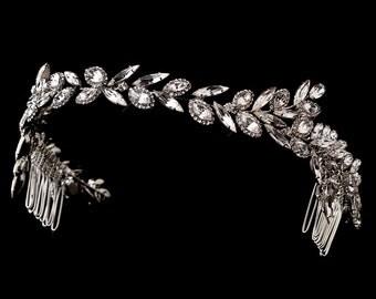 Grecian Wedding headband band GRECIAN Art Deco vintage style navette crystal wedding bridal hair accessories