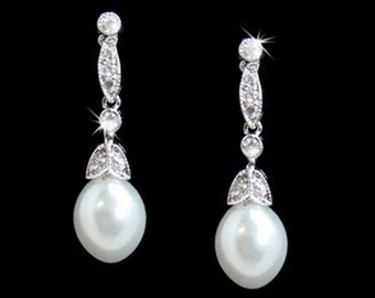 Pearl bridal earrings pearl crystal drop bridal earrings 1930s vintage style crystal pearl drop wedding bridal earrings wedding jewelry