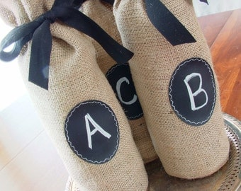 JULY Shipping! Burlap Wine Bottle Bags, sets of 12 - 23, with Chalkboard Message Label to Use Again and Again